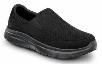 SKECHERS Work SSK9809BBK Jimmy Men's Black, Soft Toe, MaxTrax Slip Resistant, Slip-on Athletic