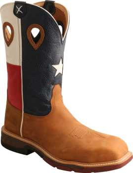 Twisted X TWMXBN004 Men's, Brown/Texas Flag, Comp Toe, EH, 12 Inch Boot