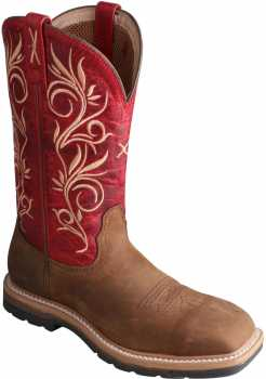 Twisted X TWWLCS003 Women's, Latigo/Red, Steel Toe, EH, 11 Inch, Pull On Boot