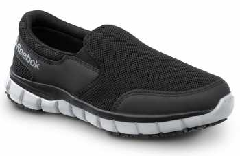 Reebok SRB031 Sublite Women's, Black/Grey, Slip On Athletic Style Slip Resistant Soft Toe Work Shoe