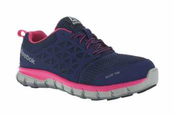 Reebok Work WGRB046 SubLite Cushion Work Women's, Navy/Pink, Alloy Toe, EH, Low Athletic