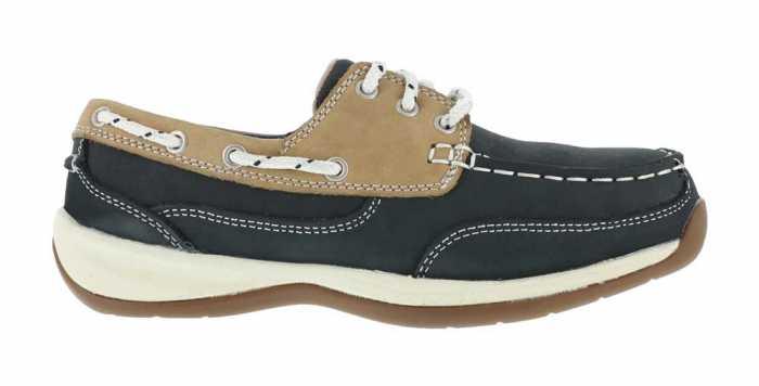 Rockport Works WGRK670 Navy/Tan Steel Toe, SD, Women's Sailing Club 3 Eye Boat Shoe