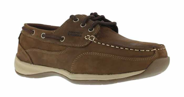 Rockport Works WGRK6736 Brown Steel Toe, EH, Men's Sailing Club 3 Eye Boat Shoe