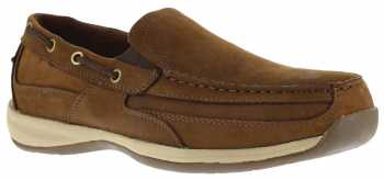 Rockport Works WGRK6737 Brown Steel Toe, EH, Men's Sailing Club Slip On Boat Shoe