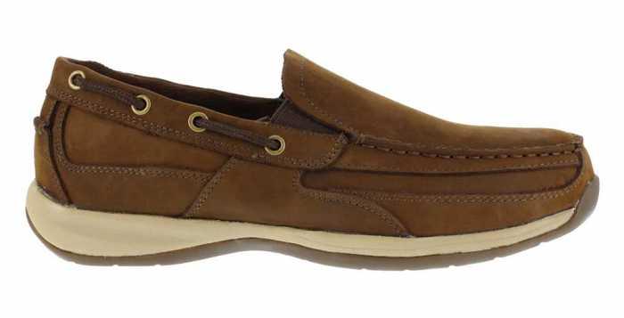 Rockport Works WGRK6737 Brown Steel Toe, EH, Men's Sailing Club Slip On Boat Shoe