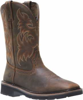 Wolverine WW10702 Men's Rancher, Dark Brown/Rust, Square Toe Steel Toe, EH, Pull On Boot