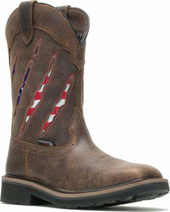 Wolverine WW201218 Rancher Claw, Men's, Brown, Steel Toe, EH, WP, 10 Inch Pull On Boot
