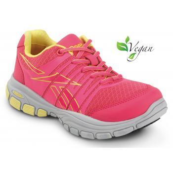 Reebok SRB147 Pink/Yellow Soft Toe, Slip Resistant, Women's Vegan Arion MaxTrax Athletic