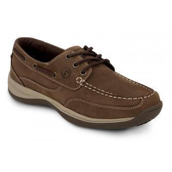 Rockport Works SRK9100 Men's Brown Soft Toe, MaxTrax Slip Resistant, Boat Shoe